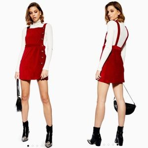 Topshop Corduroy Button Overall Pinafore Dress